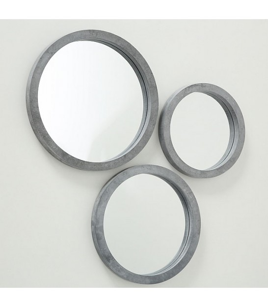 Set of 3 Grey Round Mirrors