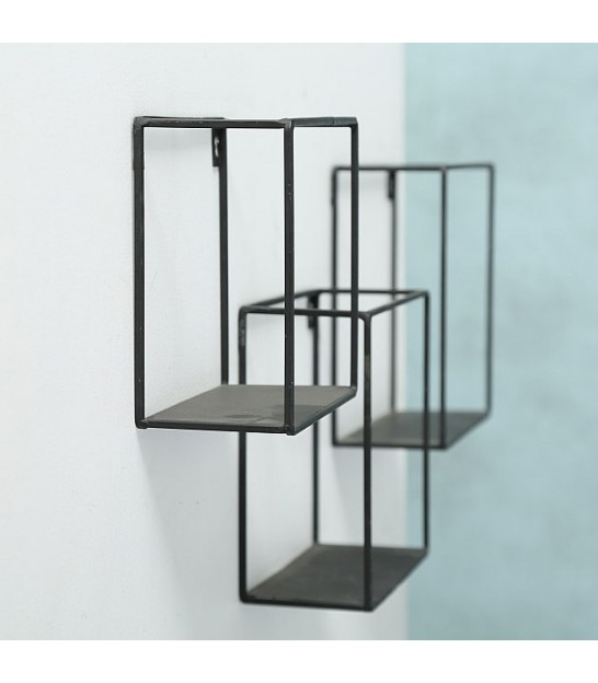 Set of 3 Black Metal Wall Shelves - 16/18/20cm