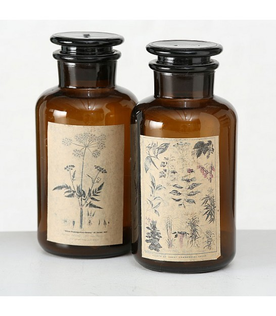 Set of Two Apothecary Bottles