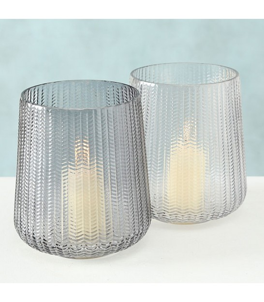 Set of 2 Photophores Glass Grey - Height 19cm