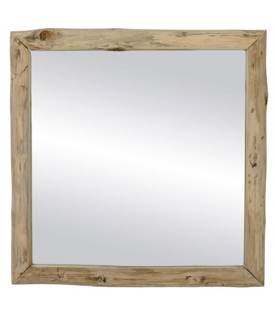 Wall Mirror Wood Teak - 80x80cm