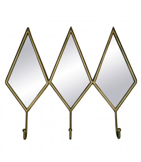 Wall Coat Rack Golden Metal and Glass Diamonds