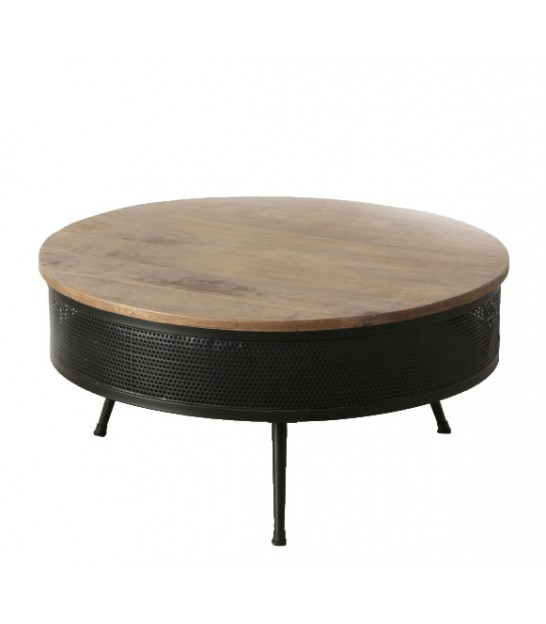 Round Coffee Table Black Metal and Wood