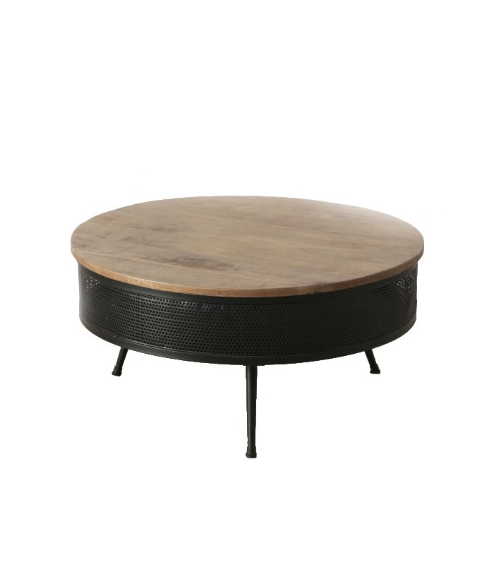 table basse ronde m tal noir et bois style industriel. Black Bedroom Furniture Sets. Home Design Ideas