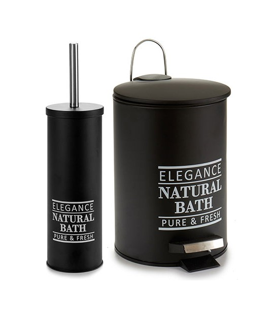Bathroom Bin 5L + Toilet Brush Natural Bath - Black