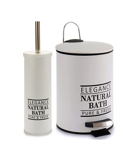 Bathroom Bin 5L + Toilet Brush Natural Bath - White