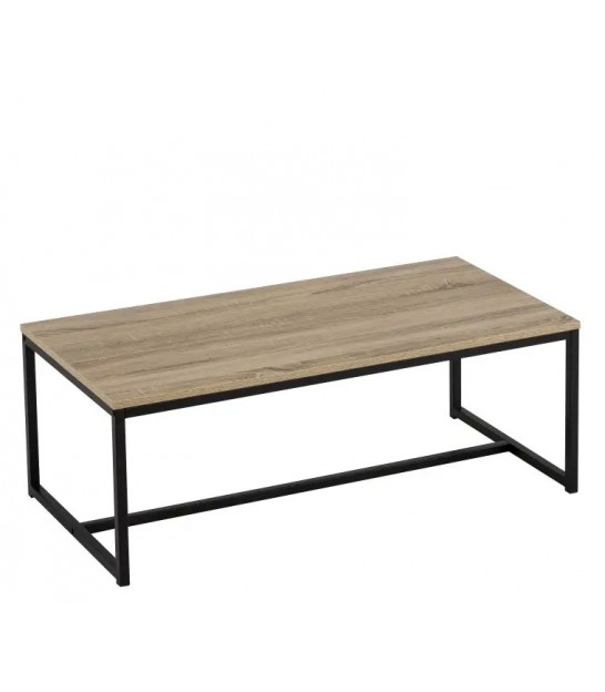 Coffee Table Wood MDF and Black Metal