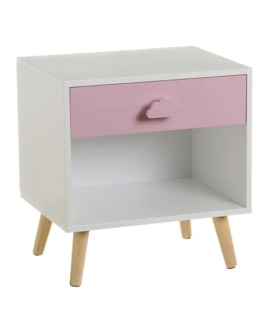 Kid Wooden Bedside Table Pink