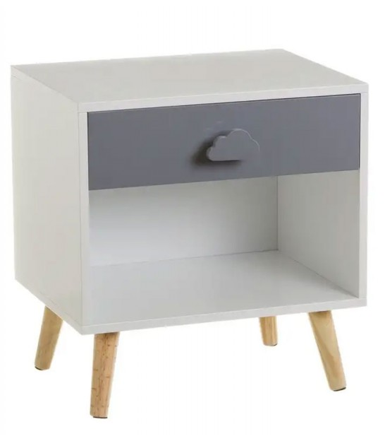 Kids Wooden Bedside Table Grey