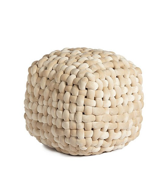 Pouf Design Velours Beige Noeuds