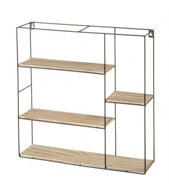 Wall Shelf Black Metal and Wood MDF