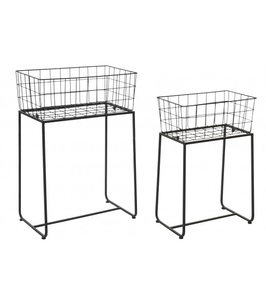 Set of 2 Flowerpot Stands Black Metal