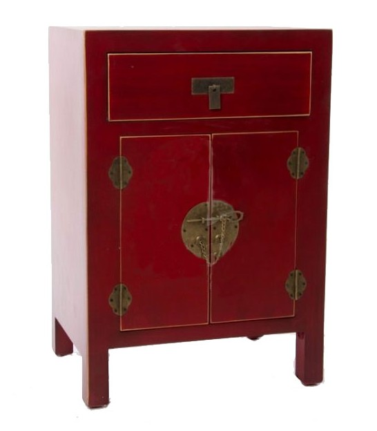 Table de Chevet en Bois Rouge Chinoiserie