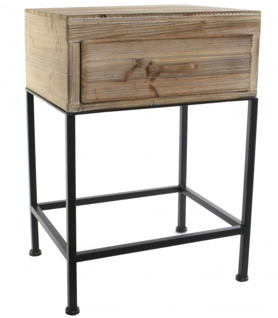 Bedside Table Wood and Metal Black 1 Drawer