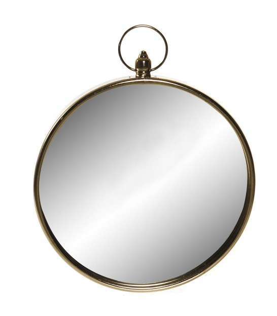 Wall Mirror Golden Metal Round