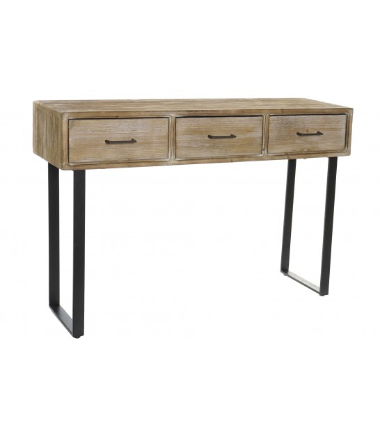 Console Table 3 Drawers Wood and Black Metal