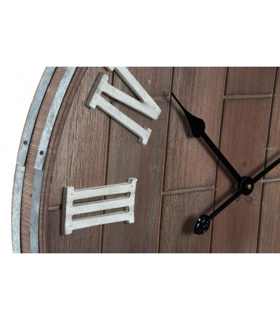 Wall Clock Wood and Black Metal - 60cm