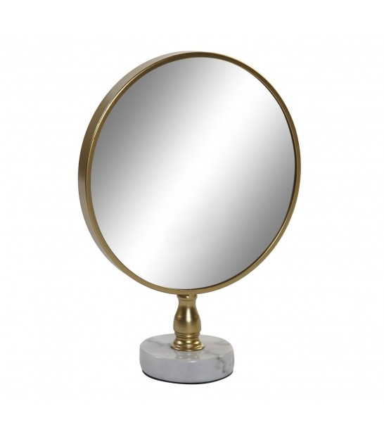 Round Mirror on White Marble Stand Golden Metal