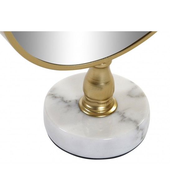 Round Mirror on Stand Golden Metal