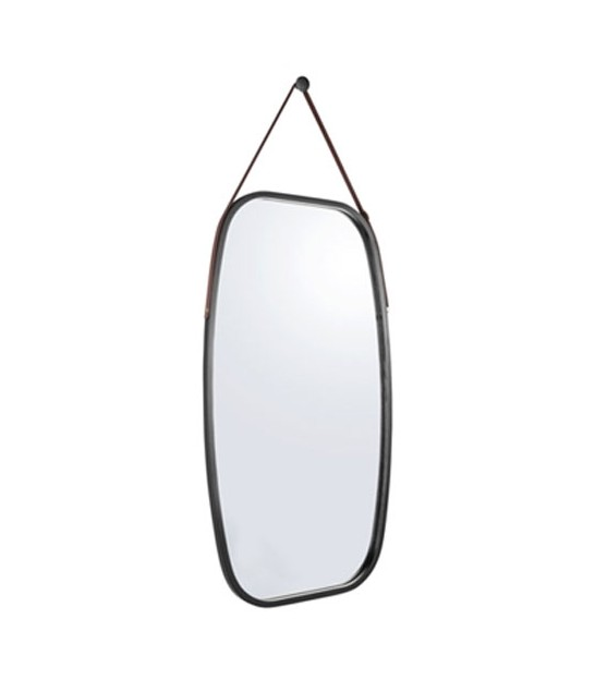 Suspended Mirror Black Bamboo