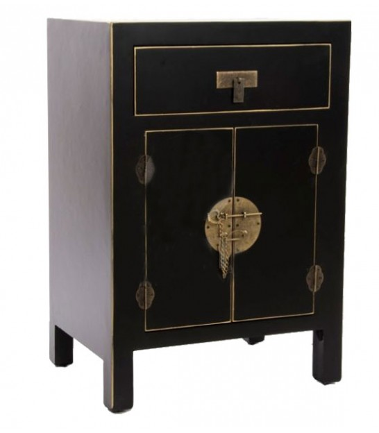 Table de Chevet en Bois Noir Chinoiserie