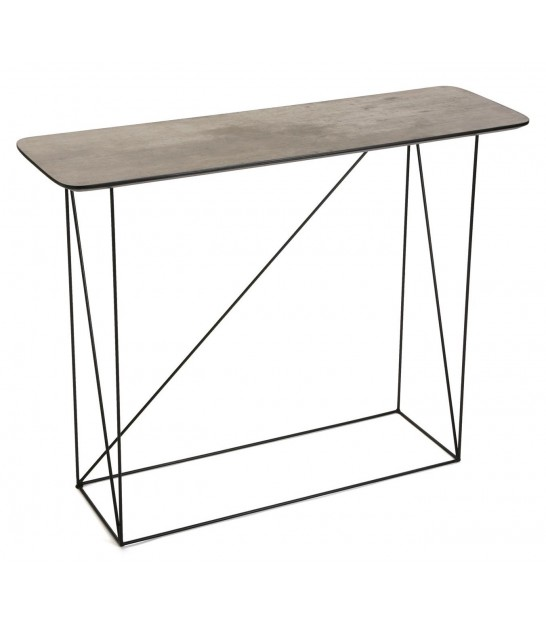 Console Table Black Metal and Grey MDF