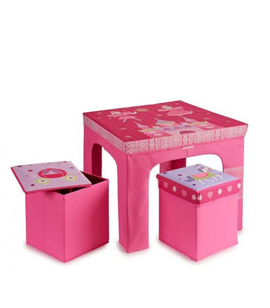 Table + 2 Tabourets Enfant Pliables Princesse Rose
