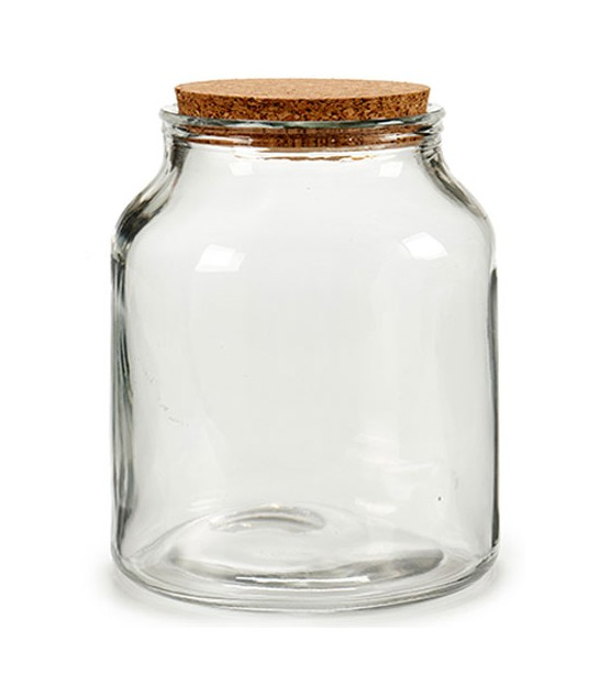 Round Kitchen Glass Jar Cork Lid - H15cm