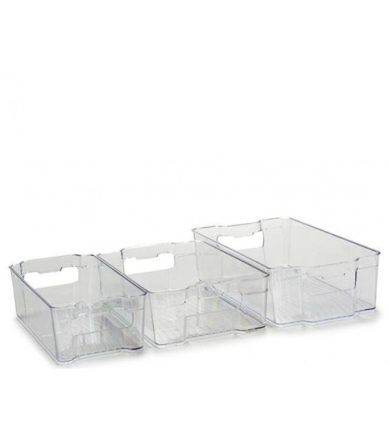 Set of 3 fridge and freezer bins transparent