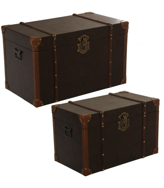 Set of 2 Storage Malles - Brown
