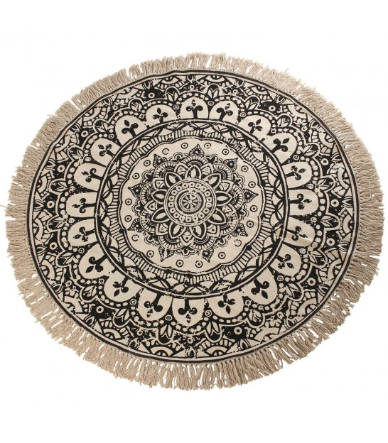 Round Ethnic Rug 100% Cotton Black and White - 120cm
