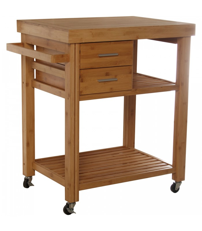 Kitchen Side Table on Wheels Wood