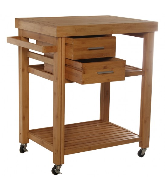 Kitchen Side Table on Wheels Wood and Inox