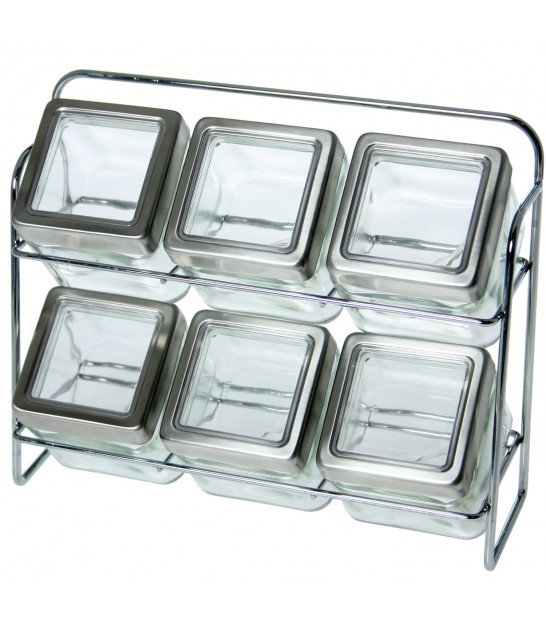White Metal Spice Shelf with 12 Glass Jars