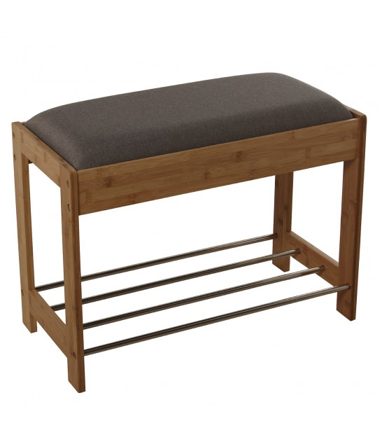 Bamboo Bench Grey Tissue with Shoes Shelf