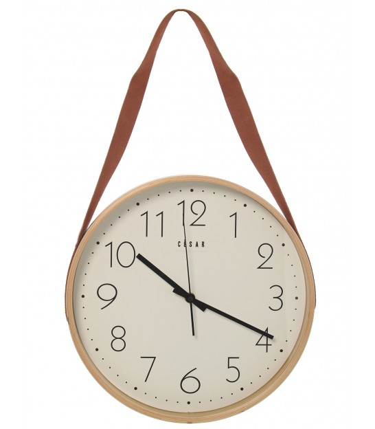 Clock, concrete/leather, light grey/brown