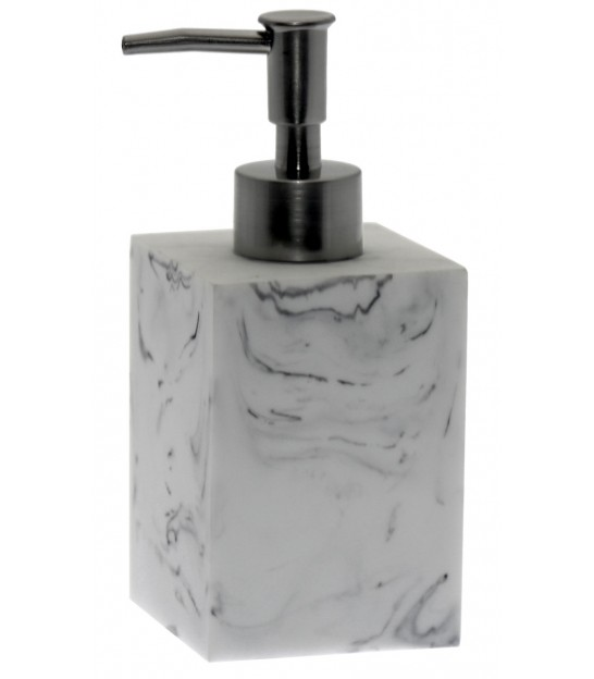 Soap Dispenser Resin White Marble Effect and Chrome Metal