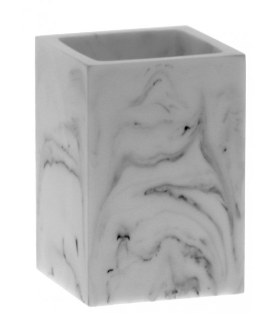 Toothbrush Holder Resin White Marble Effect and Golden Metal