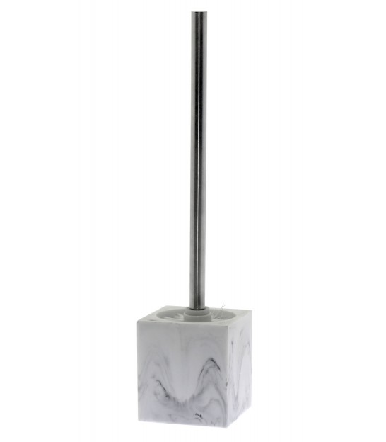 Toilet Brush Resin White Marble Effect and Chrome Metal
