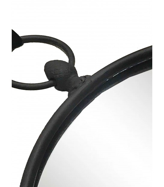 Suspended Mirror Dark Brown Metal - 26cm