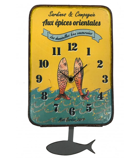 Wall Clock Sardine Yellow Metal