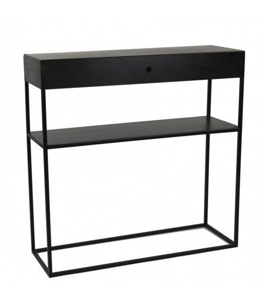 Console Table 1 Drawer Black Metal - Length 80cm