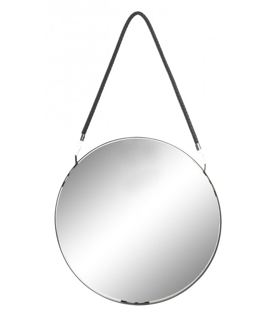 Suspended Wall Mirror Black Metal Round