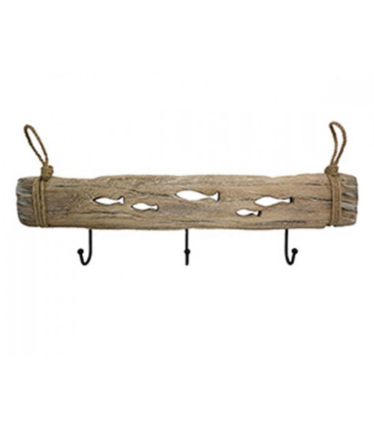 Wall Coat Rack Wood Fishes - 3 Hooks