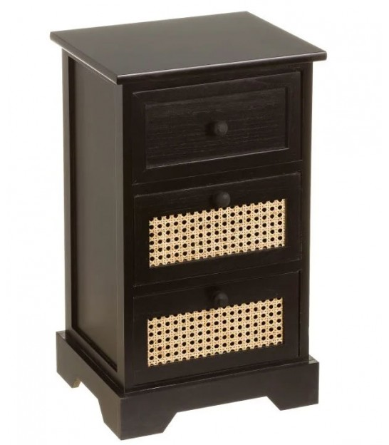 Nightstand Black Palownia Wood 3 Drawers