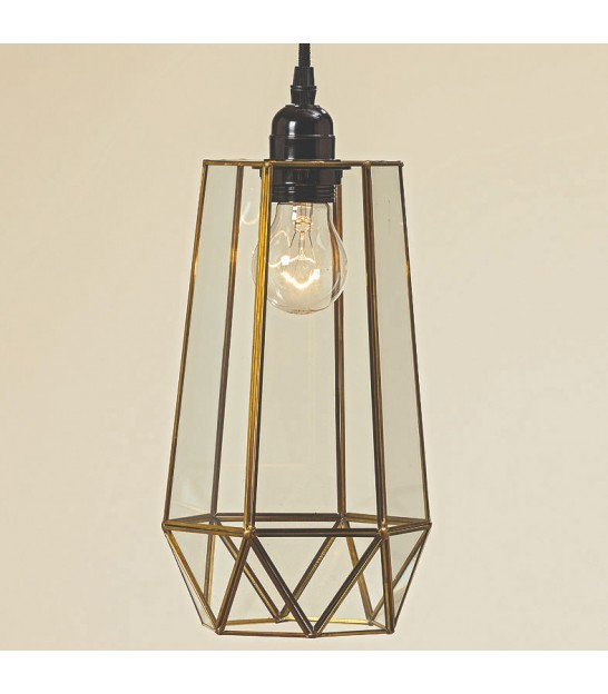 Ceiling Lamp Golden Brass and Glass