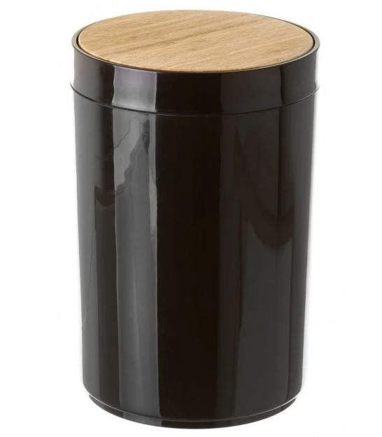 Bathroom Bin Black Plastic and Bamboo