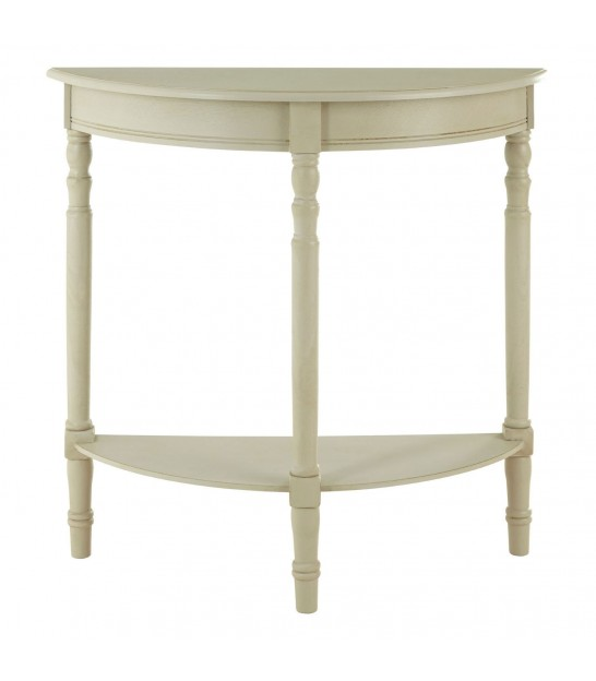 Console Table Beige Wood half-moon