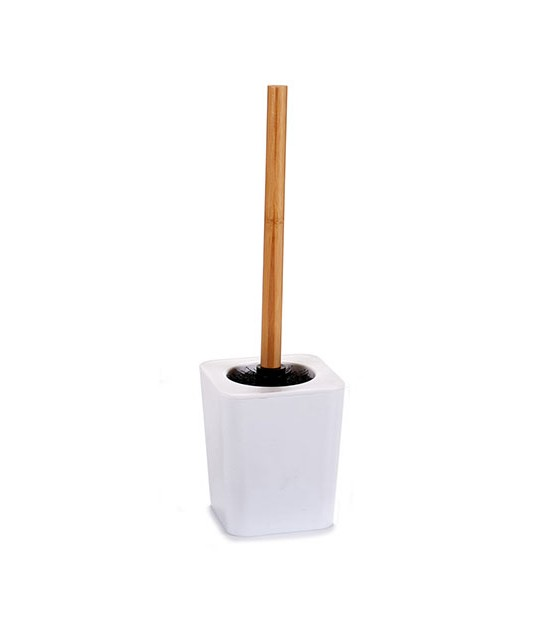 White Toilet Brush Plastic and Bamboo