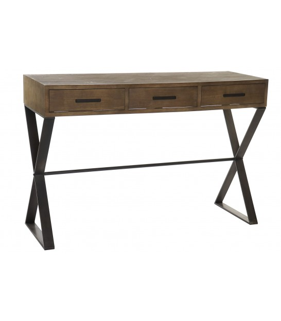 Console Table Wood and Metal 3 Drawers